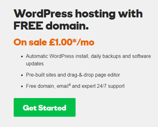 $2.49 WP hosting with free domain